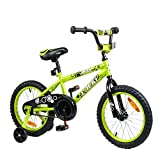 Tauki Kid Bike BMX Bike for Boys and Girls, 16 Inch, Lime, 95% assembled, for 4-8 Years Old, Gift for kids