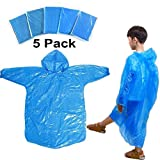 FANSIR Kids Children Rain Poncho - Disposable PVC Lightweight Waterproof Emergency Raincoat for Girls Boys with Hoods and Sleeves Perfect for Outdoor Activities Blue (5 Pack)