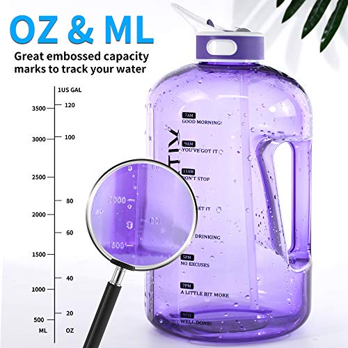 128OZ/1 Gallon Water Bottle with Straw Motivational Water Bottle with Time Marker, Large Water Bottle 128 Oz Water Bottle, Big Water Jug for Sports Water Bottles
