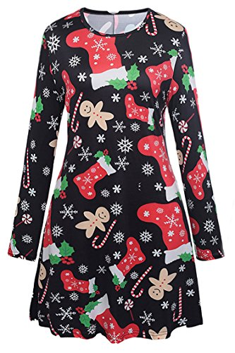 Herose Ladies Christmas Stockings Canes Snowflake Ginger Bread Flared Dress XL ()
