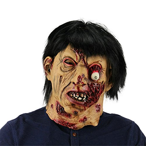 Halloween Natural Latex Face Mask Wigs Black Hair