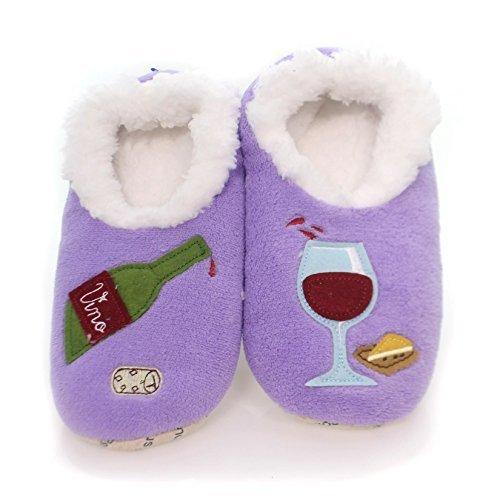 Snoozies Womens Classic Splitz Applique Slipper Socks - Wine O' Clock, Large