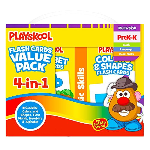 Playskool Flash Cards Value Pack – Alphabet/First Words/Shapes & Colors/Numbers PreK – K