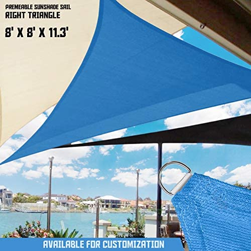 TANG Sunshades Depot 8 x 8 x 11.3 Sun Shade Sail Right Triangle Permeable Canopy Blue Custom Commercial Standard 180 GSM