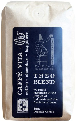Caffe Vita Theo Blend, Fair Trade, Whole Bean Coffee (Medium Roast), 12 oz.