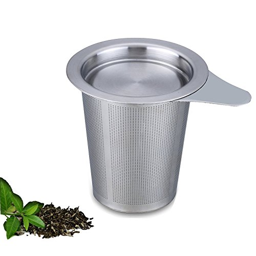 Autoark AH-002-1 Brew-in-mug Teapot Extra Fine Mesh Tea Strainer Infuser Steeper with Lid and Handle for Loose Leaf Grain Tea Cups,Mugs,and Pots