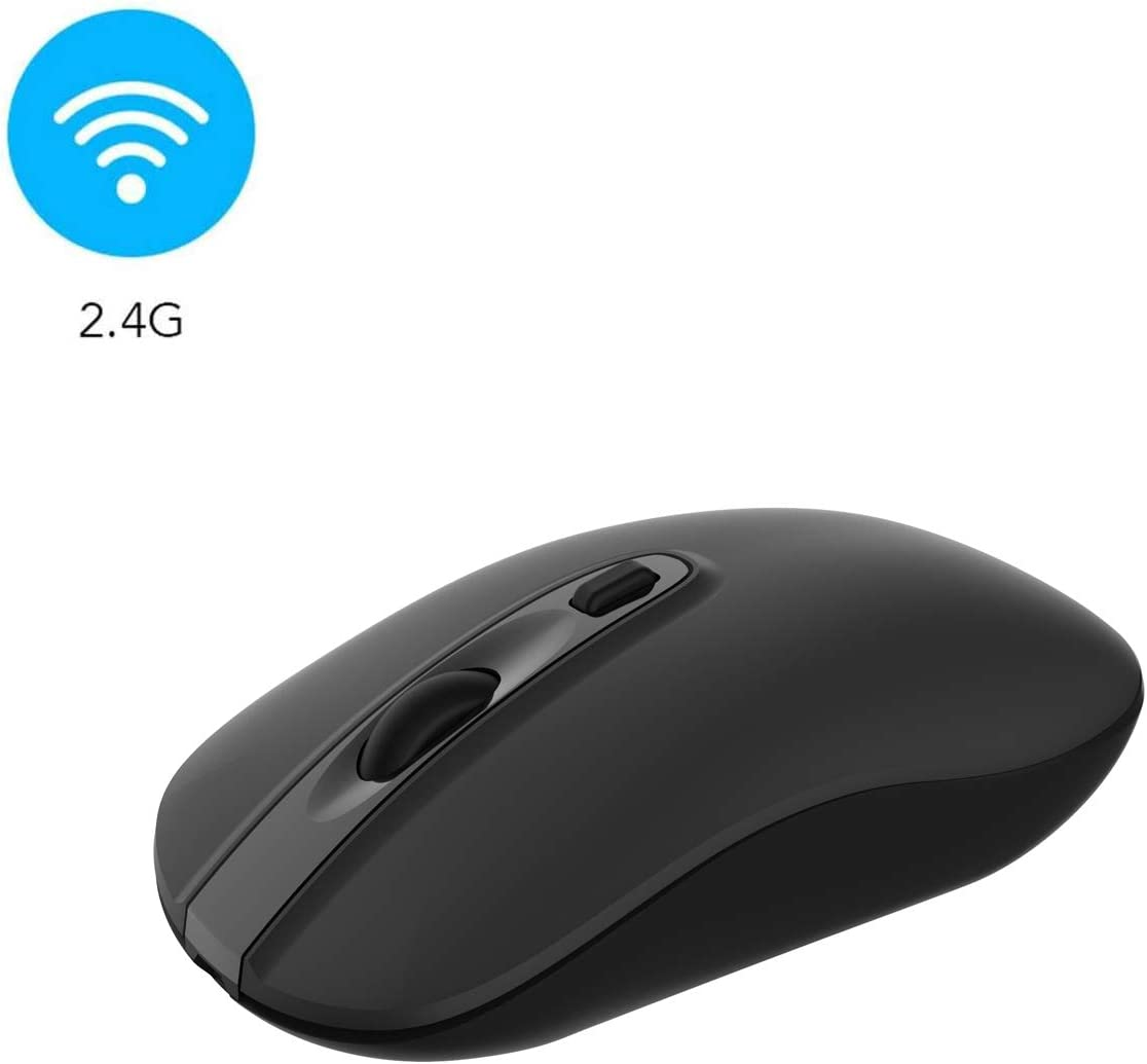 Wireless Computer Mouse, Cimetech 2.4G Slim Cordless Mouse Less Noise for Laptop Ergonomic Optical with Nano Receiver USB Mouse for Laptop, Deskbtop, MacBook (BAT Black)