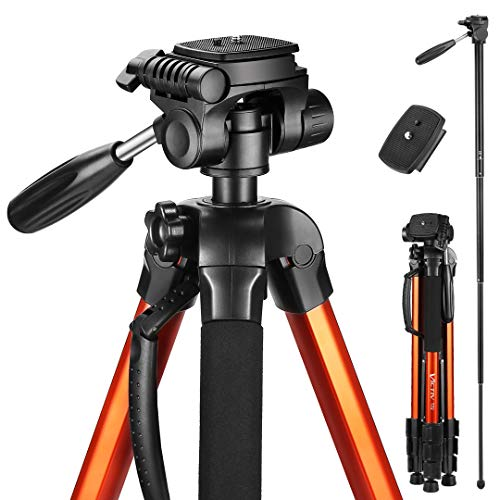 Victiv 72-inch Compact Tripod for Camera, Durable Aluminum Stand for YouTube Videos, Live Webcasts, Lightweight Monopod with Phone Mount Holder and 2 Quick Release Plates for Canon Nikon – Orange