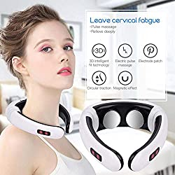 Qnlly Electric Pulse Back Neck Massager Far Infrared Heating Pain Relief Relaxation Intelligent Cervical Massager