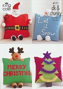 Snowman Cushion Knitting Pattern : King Cole DK & Chunky Christmas Cushion Knitting Pattern Santa Rudolph Sn...