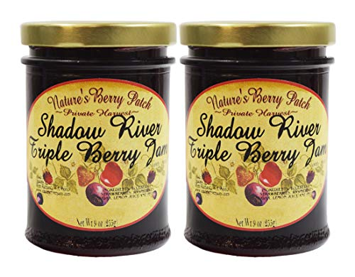 Shadow River Triple Berry Gourmet Jam 9 oz - Blueberry, Strawberry, Raspberry - Pack of - Pack Triple Ounce 9