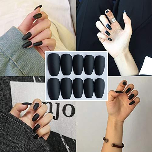 editTime 24 PCS Black Coffin Nails Long Ballerina Cover Acrylic Full Fake Nail Tips Natural Artificial False Nails for Nail Salons or DIY Nail Art at Home (1) for $<!--$6.99-->