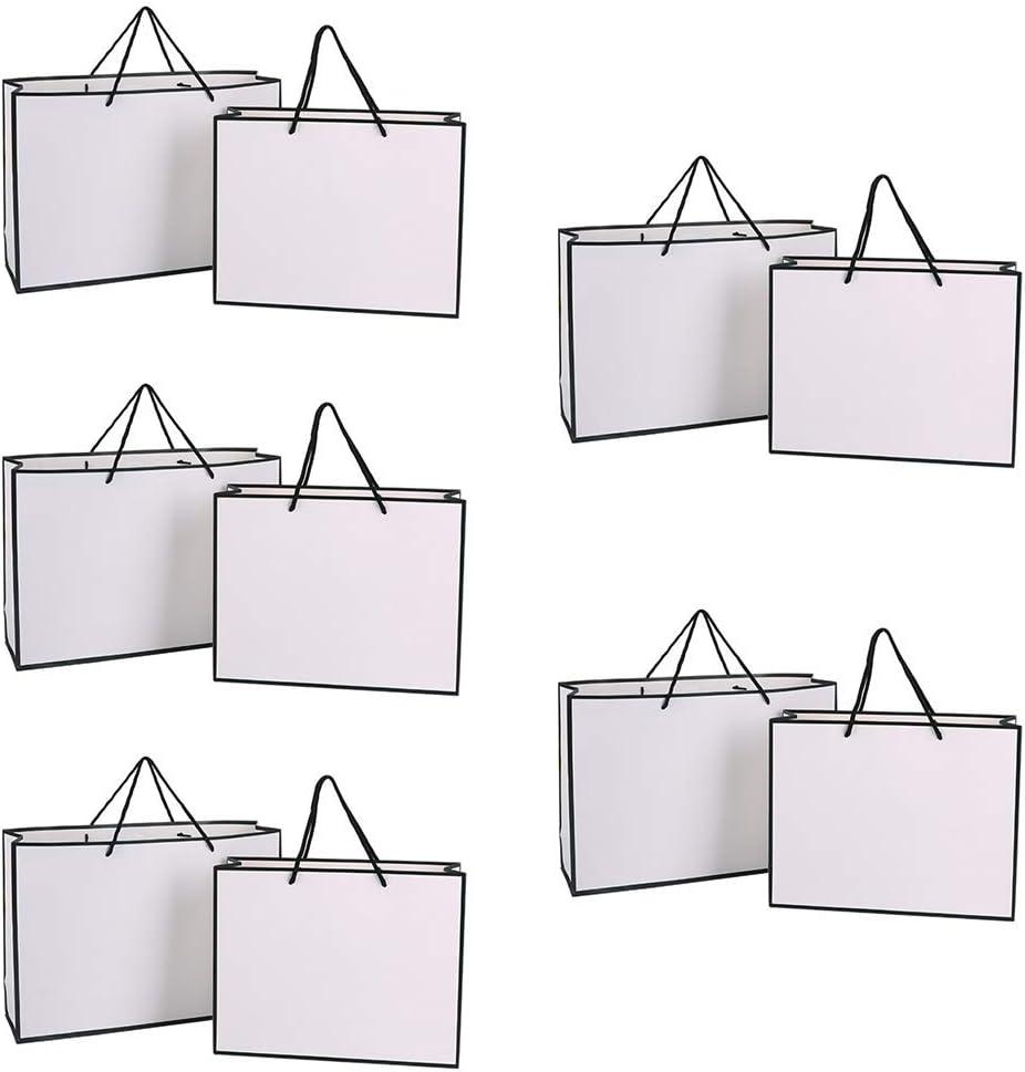 Lezed Bolsas de Compra Bolsas de Regalo de rectángulo Bolso de Papel de las Compras para regalos de cumpleaños y de boda Bolsas de Papel Simples utilizadas para el Embalaje 12PCS 28 x 20 x 10CM