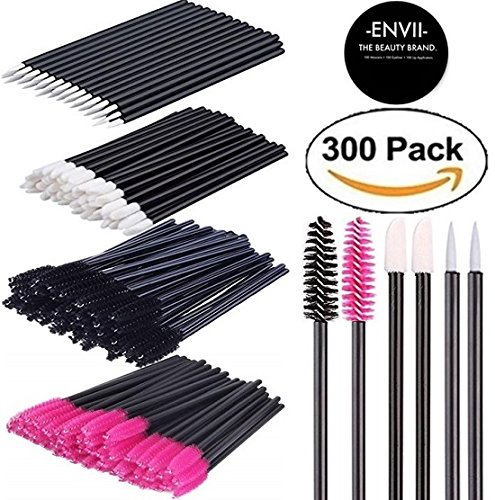Samples Free Makeup (ENVII - The Beauty Brand 300PK Disposable Makeup Applicators, Mascara Wands, Lipstick Applicators, Fine Eyeliner Brush Makeup Artist kit)