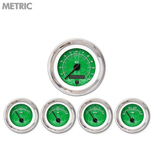 Aurora Instruments GAR290ZMXQABCC Tribal Green 5-Piece Gauge Set