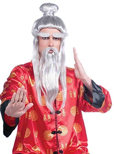 Asian Warrior Martial Arts Master Samurai Sensei Full Wig & Beard Set - Sensei Costume Child