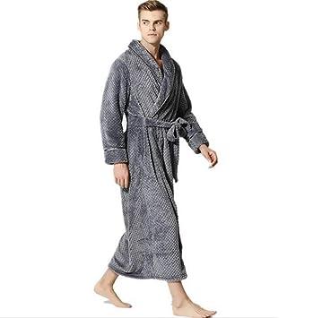 SHANGXIAN Largo Bata Baño Homewear Vestido Mujeres/Hombres Albornoz Franela Camisón Calentar Batas De Baño,Gray(Male),XL: Amazon.es: Hogar
