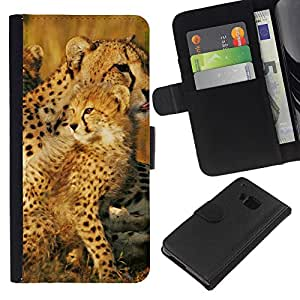 KingStore / Leather Etui en cuir / HTC One M9 / Leopardo Cub ?frica Naturaleza Madre de Verano