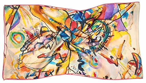 Multicolour Abstract Printed Long Silk Scarf