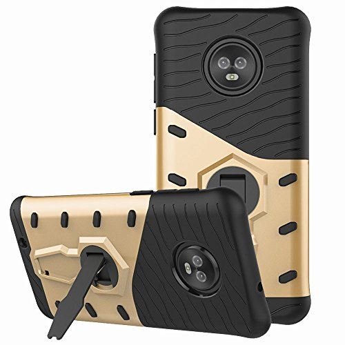 (Moto G6 Case, Moto G (6th Generation) Case, Telegaming Dual Layer Armor Case With 360 Degree Rotating Kickstand Shock Absorption Protective Hard Back Cover For Motorola Moto G6 5.7 Inch Gold)