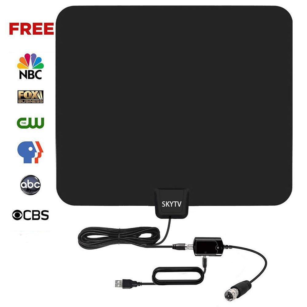 [2018 UPGRADED] Amplified HD Digtial TV Antenna with 50-70 Miles Long Range - Detachable Signal Booster Support Full HD 1080P 4K All TVs for Indoor w/Longer Coax Cable by SKYTV