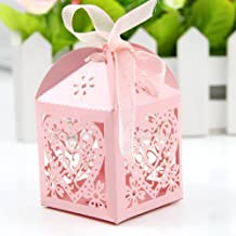 Hunulu 50 PCS Love Heart Laser Cut Candy Gift Boxes With Ribbon Wedding Party Favor (pink)