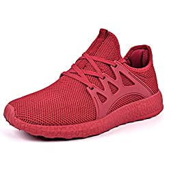 Mxson Womens Sneakers Ultra Lightweight Breathable Mesh Sport Gym Walking Shoes Red 9B(M) US