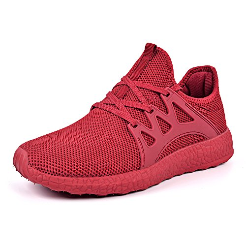 Mxson Womens Sneakers Ultra Lightweight Breathable Mesh Sport Gym Walking Shoes Red 7B(M) US