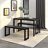 WLIVE Dining Table with 2 Benches / 3 Pieces Set, Dining Room Furniture with Steel Frame