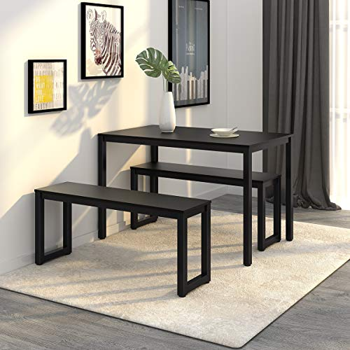 - WLIVE Dining Table with 2 Benches / 3 Pieces Set, Dining Room Furniture with Steel Frame