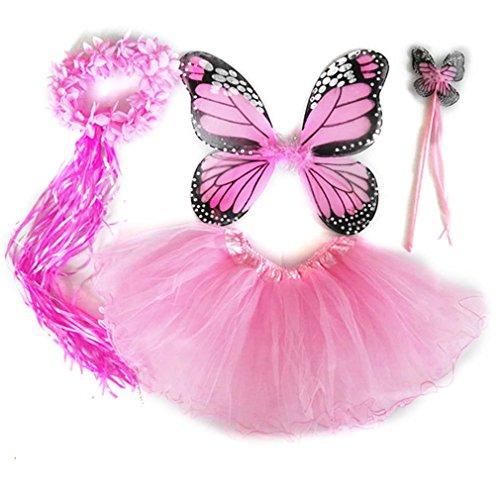 4 PC Girls Fairy Princess Costume Set with Wings, Tutu, Wand & Halo (Light Pink) (Girls Pink Fairy Costume)