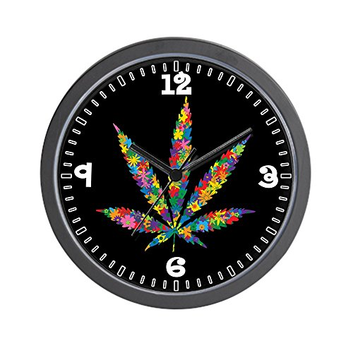 Wall Clock Marijuana Leaf Flowers 60s Colors