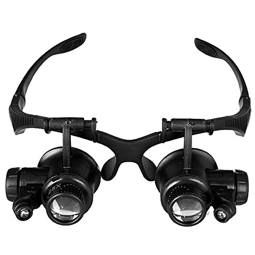 Double Eye Watch Repair Magnifier Loupe LED Light Jeweler Magnifying Glasses Tool Set with 8 Lens 10X 15X 20X 25X by OUKU (Image #2)