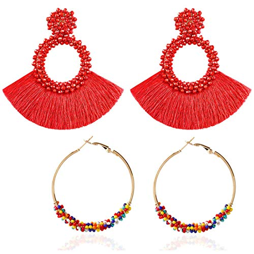 - 2 Pairs Large Hoop Earrings for women, Big Circle Beaded Statement Red Tassel Earrings Bohemian Charms jewelry Set for Girls