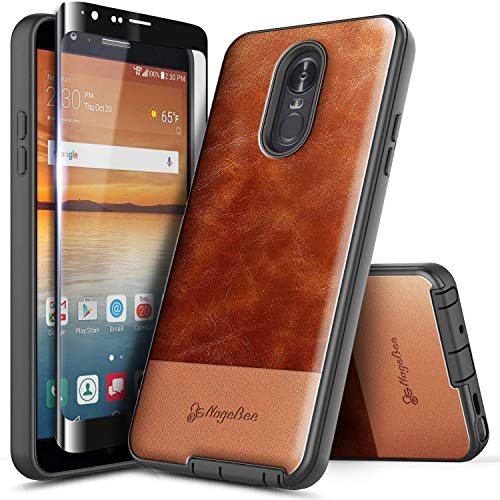 NageBee LG Stylo 4 Case, LG Stylo 4+ Plus/LG Q Stylus with Tempered Glass Screen Protector (Full Coverage), Premium Cowhide Leather Armor Defender Dual Layer Shockproof Hybrid Rugged Case -Brown