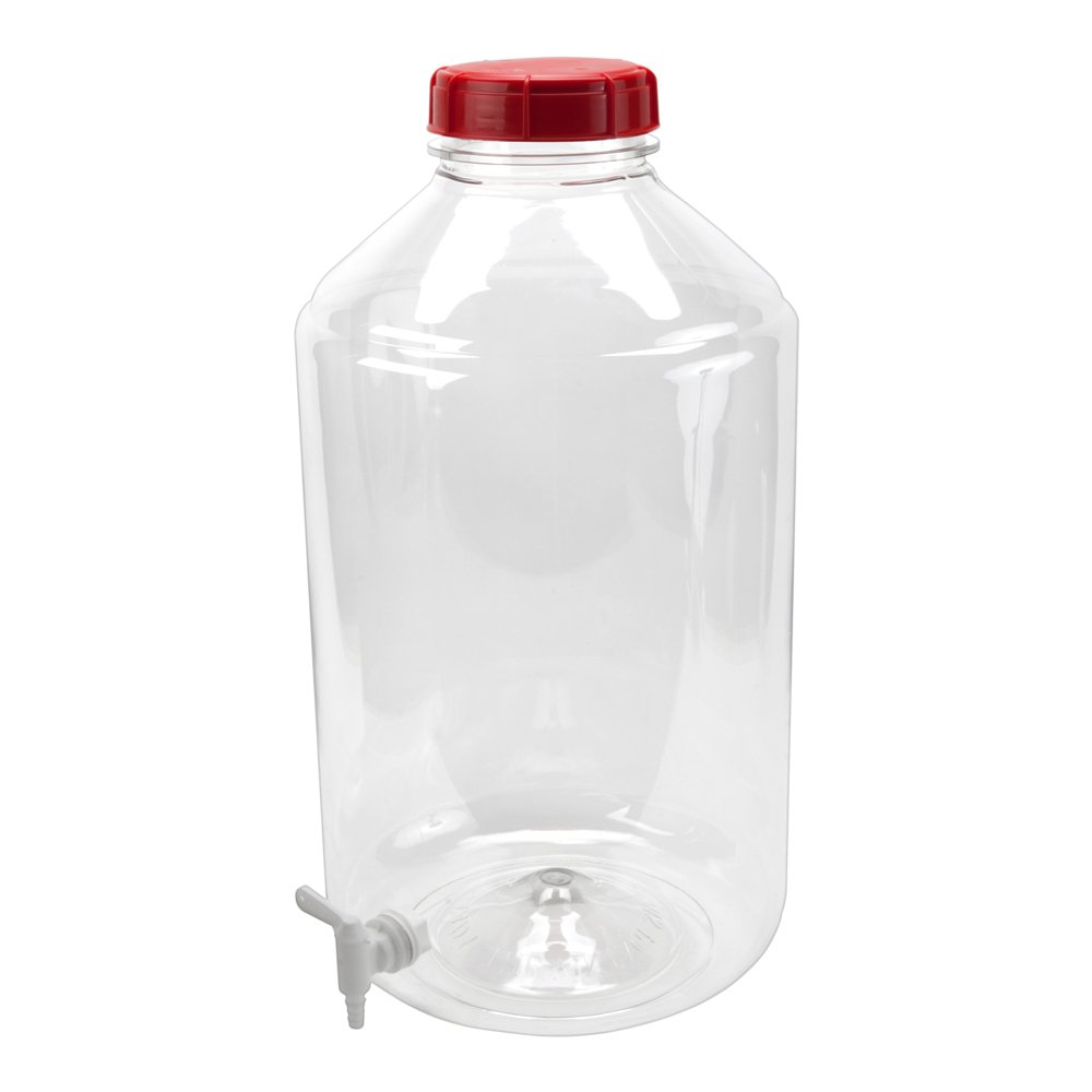 6 Gallon PET Carboy with Spigot, 2 Caps, Stopper EPDM Seal