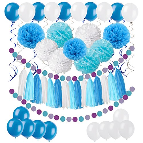 om Poms with Tissue Paper Tassel, Polka Dot Garland, Hanging Swirl Decorations and Balloon Kit for Birthday Wedding Showers Party Decorations - Blue ()