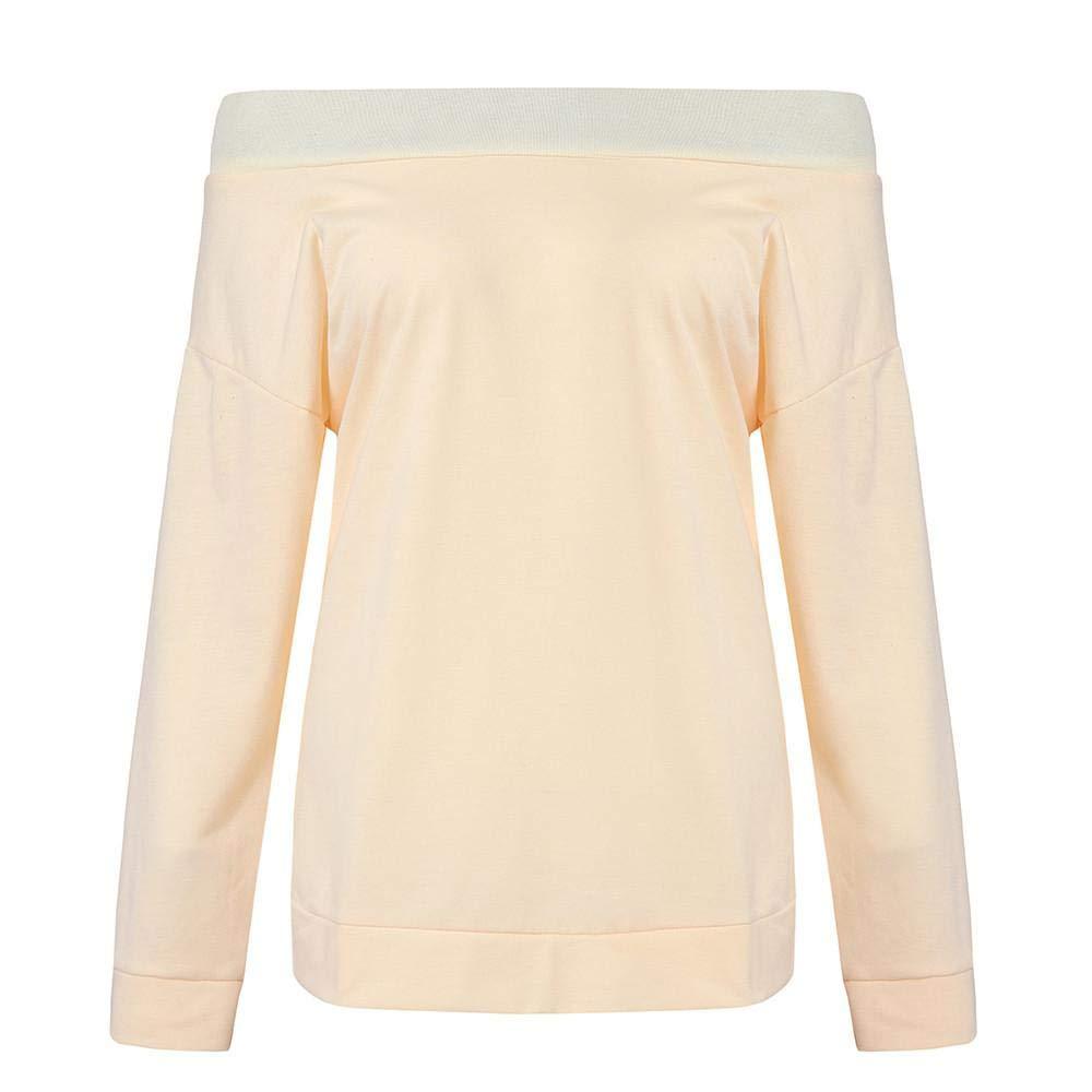 Amazon.com: ZJSWCP Sweatshirt Casual Women Autumn Long Sleeve Off Shoulder Slash Neck Sweatshirt Pullover Tops Blouse Sudaderas para Mujer Damska 30: ...