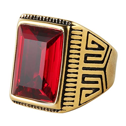 HZMAN Men's Vintage Gold Plated Stainless Steel Statement Ring Class Band, Red Blue Green ()