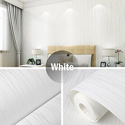 Non Woven Wallpaper LinkStyle Textured Wallpaper 3D Modern Wallpaper Wall Coverings for Home Living Room Bedroom Offices Hotels Wall Art Murals-White (19.7