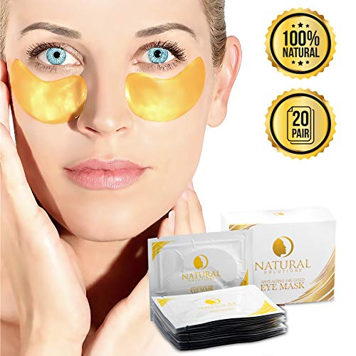 20 Pairs - Natural Solutions - 24K Karat Gold - Hyaluronic Acid, Collagen Under Eye Bags Treatment - Gel Snail Mask Pads for Puffy Eyes, Dark Circle - Pure Undereye Patches/Masks For Women & Men