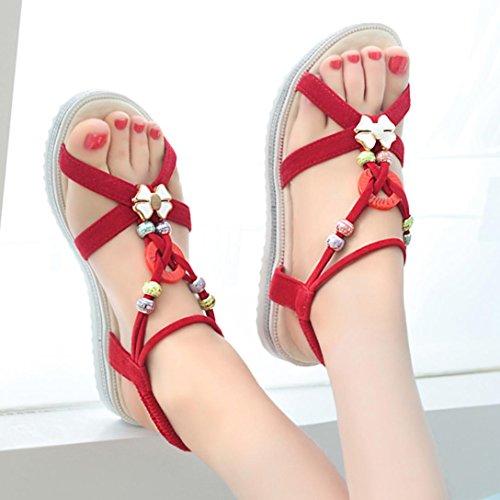 bescita Sommer Sandalen Schuhe Peep-Toe Halbschuhe Römischen Sandalen Damen Flip Flops (39, Rot)