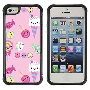Suave TPU GEL Carcasa Funda Silicona Blando Estuche Caso de protección (para) Apple Iphone 5 / 5S / CECELL Phone case / / ice cream candy pink sweets lollipop /
