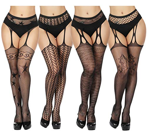 TGD Women's Fishnet Stockings Tights Sexy Suspender Pantyhose Thigh High Stocking Black 4Pairs(Style61626676)