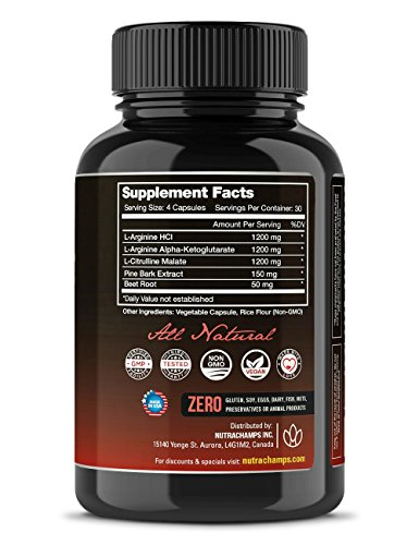 Nitric-Oxide-Supplement-with-L-Arginine-Citrulline-Malate-AAKG-Pine-Bark-Extract-Beet-Root-Powerful-NO-Booster-for-Muscle-Growth-Strength-Vascularity-Energy-Blood-Flow-120-Vegan-Capsules