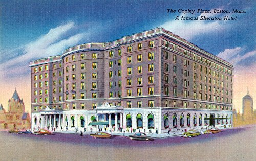 Boston, Massachusetts - Exterior View of Sheraton Hotel in Copley Plaza (36x22 5/8 Gallery Quality Metal Art)