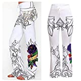 Farjing Pants Clearance Sale Women's Halloween Print Flowy Wide Leg High Waist Long Pants(S,White