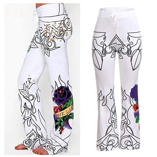 Farjing Pants Clearance Sale Women's Halloween Print Flowy Wide Leg High Waist Long Pants(S,White  by Farjing