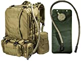 Tactical Military MOLLE Backpack Bundle with 2.5L Hydration Water Bladder & 3...