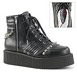 Demonia Men's V-Creeper-565 Sneaker, Black Vegan Leather, 10 M US